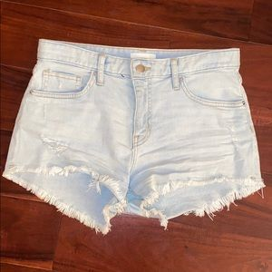 H & M Blue Frilled Shorts With Small Tears